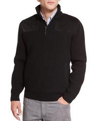 Черный свитер с воротником на молнии