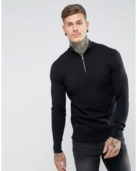 Мужской черный свитер с воротником на молнии от ASOS DESIGN