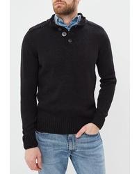 Черный свитер с воротником на пуговицах от Kensington Eastside