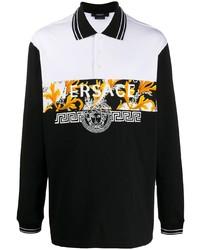 Мужской черный свитер с воротником поло с принтом от Versace