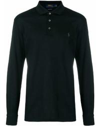 Черный свитер с воротником поло
