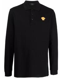 Мужской черный свитер с воротником поло от Versace