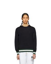 Мужской черный свитер с круглым вырезом в горизонтальную полоску от Moncler