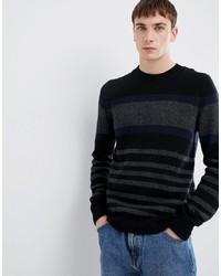 Мужской черный свитер с круглым вырезом в горизонтальную полоску от Selected Homme
