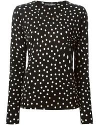 Черный свитер с круглым вырезом в горошек