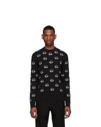 Мужской черный свитер с круглым вырезом с вышивкой от Kenzo