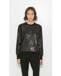 Черный свитер с круглым вырезом с пайетками
