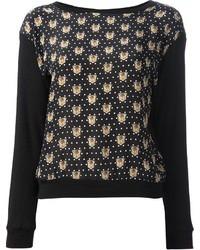 Черный свитер с круглым вырезом с принтом