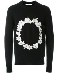 Мужской черный свитер с круглым вырезом с принтом от Givenchy