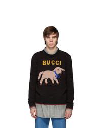 Мужской черный свитер с круглым вырезом с принтом от Gucci