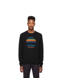 Мужской черный свитер с круглым вырезом с принтом от Ps By Paul Smith