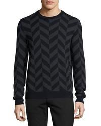 Черный свитер с круглым вырезом с узором зигзаг