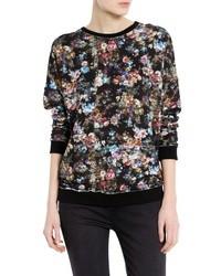 Черный свитер с круглым вырезом с цветочным принтом