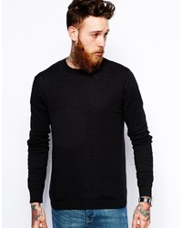 Мужской черный свитер с круглым вырезом от Asos