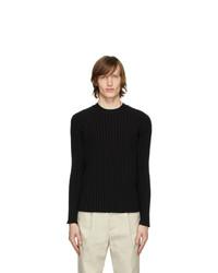 Мужской черный свитер с круглым вырезом от Deveaux New York