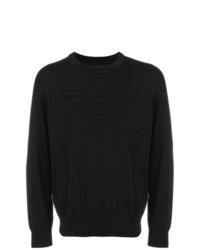 Мужской черный свитер с круглым вырезом от Emporio Armani