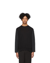 Мужской черный свитер с круглым вырезом от Issey Miyake Men
