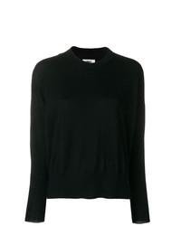 Женский черный свитер с круглым вырезом от MM6 MAISON MARGIELA