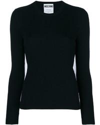 Женский черный свитер с круглым вырезом от Moschino