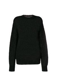 Женский черный свитер с круглым вырезом от Prada