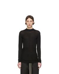 Мужской черный свитер с круглым вырезом от Rick Owens