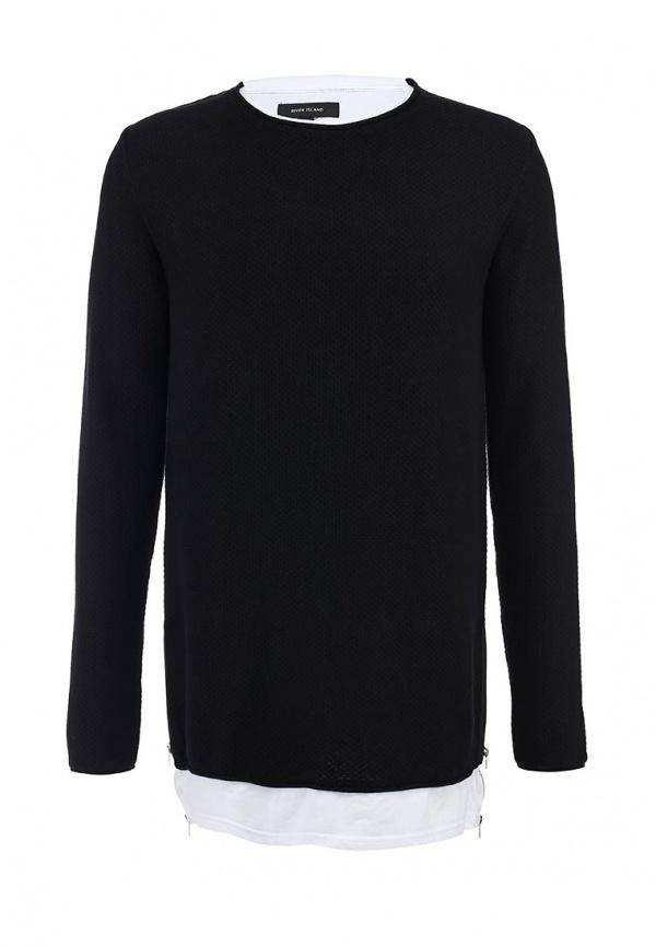 Мужской черный свитер с круглым вырезом от River Island