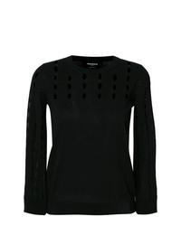 Женский черный свитер с круглым вырезом от Rochas