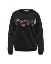 Женский черный свитер с круглым вырезом от Softy