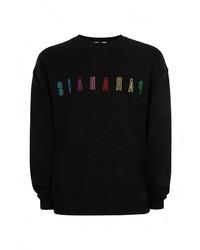 Мужской черный свитер с круглым вырезом от Topman