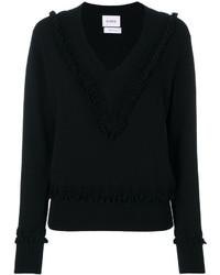 Женский черный свитер с v-образным вырезом