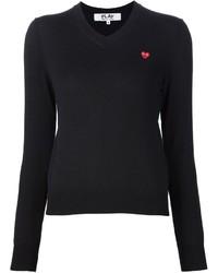 Женский черный свитер с v-образным вырезом от Comme des Garcons