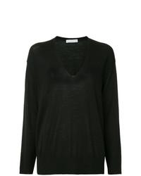 Женский черный свитер с v-образным вырезом от Fabiana Filippi