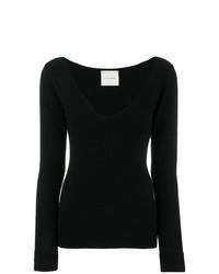 Женский черный свитер с v-образным вырезом от Fine Edge