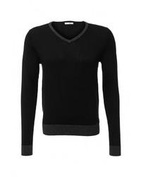 Мужской черный свитер с v-образным вырезом от Gas