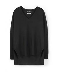 Женский черный свитер с v-образным вырезом от Mango