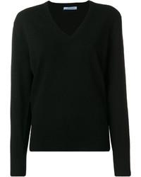 Женский черный свитер с v-образным вырезом от Prada