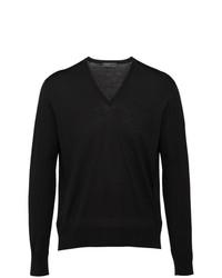 Мужской черный свитер с v-образным вырезом от Prada