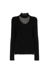 Женский черный свитер с v-образным вырезом от R13