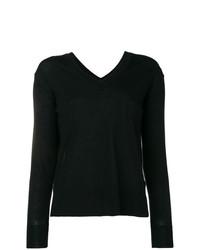 Женский черный свитер с v-образным вырезом от Zanone