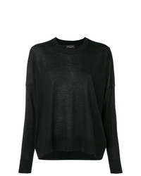 Черный свободный свитер от Roberto Collina