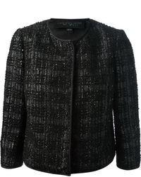 Черный твидовый жакет