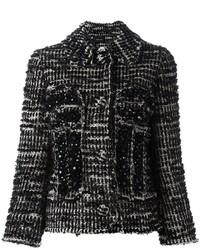 Женский черный твидовый жакет от Simone Rocha