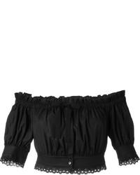Черный топ с открытыми плечами от Alexander McQueen