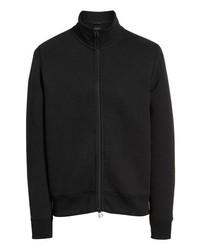 Черный флисовый свитер на молнии