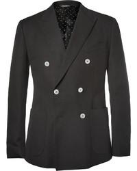 Мужской черный хлопковый двубортный пиджак от Dolce & Gabbana