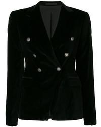 Женский черный хлопковый двубортный пиджак от Tagliatore
