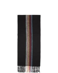 Мужской черный шарф в вертикальную полоску от Paul Smith