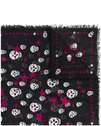 Женский черный шарф со звездами от Alexander McQueen