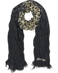 Женский черный шарф с леопардовым принтом от Zadig & Voltaire