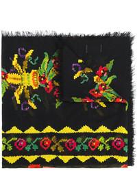 Женский черный шарф с принтом от Gucci